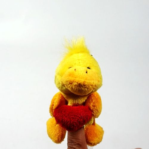duck with red heart plush finger puppet