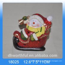 Decoración de Navidad figurilla de muñeco de nieve de cerámica