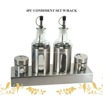 High Clear Glass Condiment Bottle Set