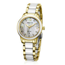Moda de diamantes Staiinless acero con cerámica Grains Ladies Watch