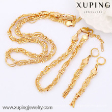 63604-Xuping Goldschmuck Sets, Mode Messing Schmuck Set mit 18 Karat Vergoldet