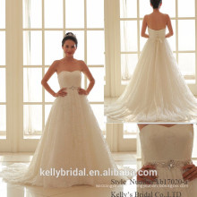 2017 new collection strapless crystal beadings on waistband tulle skirt bride's wedding dress