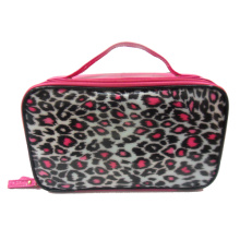 PVC makeup handbags with pink leopard print
