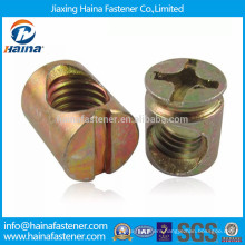 Slotted, cross slottd zinc plated furniture connector nut with bolt