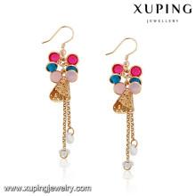 92145 Xuping Jóias design colorido banhado a ouro brincos