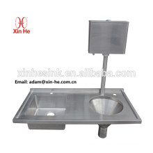 Hospital pattern disposal unit used sluice slop hopper sink with water cistern used for waste