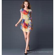 Último Diseño Elegante Impresión de Color Más Tamaño XXXL Mujeres Vestido Casual Ropa de Verano de Las Mujeres 2017