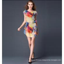 Latest Design Elegant Colorful Print Plus Size XXXL Women Casual Dress Summer Women Clothing 2017
