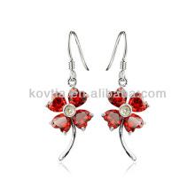 Charmantes boucles d'oreilles en zircon rouge boucles d'oreilles en argent rubis pour femmes