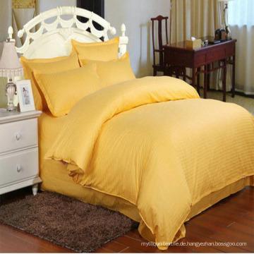 Einfarbig Satin Streifen Bettwäsche-Sets auf Lager für Hotel (DPF1063)