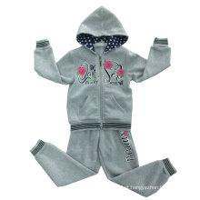 Terno do Sportswear da menina dos miúdos da flor do velo na roupa Swg-131 das crianças ′ s