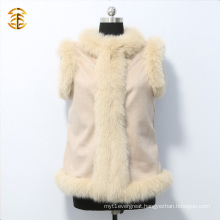 Fashionable Women Pink Cashmere Vest With Fox Fur Trim