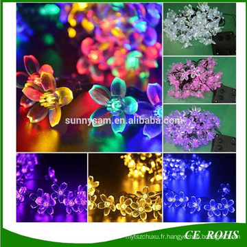 Peach Blossom 20/30/50 LED Lampe à cordes solaires Jardin décoratif Lawn Patio Christmas Party Solar Light