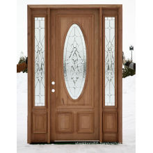 Mahogany French Popular Style Clear Glass Solid Exterior Wooden Door