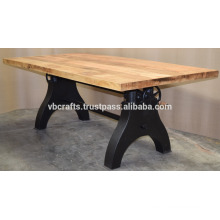 Industrial Crank Dining Table Double Gear Mechanism