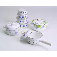 belle decals émail ustensiles de cuisine 4 ensembles de pot et bol et casserole de sacue