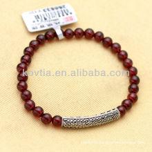 Newest design silver jewelry friendship red garnet bracelets