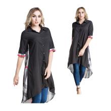 Mode Femmes Moyen modèles S-6XL maxi bloc de couleur Usure Islamique Vêtements Arabe Filles Plus taille longue chemise