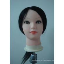 Vente chaude moins cher formation tête couleur brun formation tête/coiffure Head/100% de cheveux humains formation tête de poupée pour école de coiffure