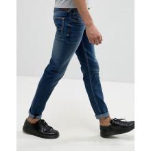 Benutzerdefinierte Stonewashed Blue Denim Baumwollhosen Männer Jeans