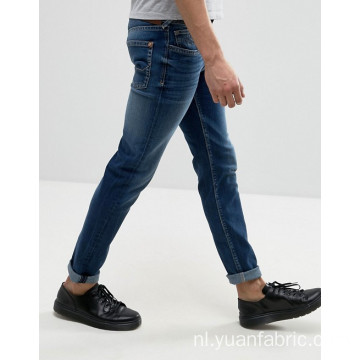 Aangepaste Stonewashed Blue Denim katoenen broek heren jeans