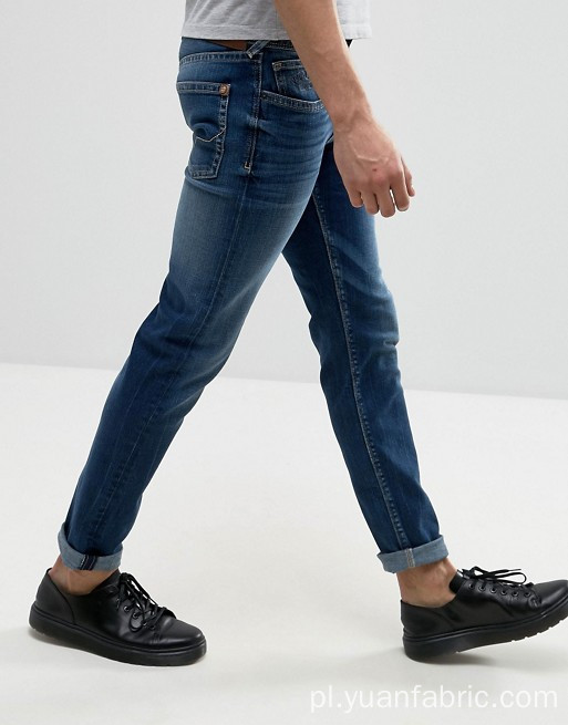 Custom Stonewashed Blue Denim Cotton Pants Men Jeans