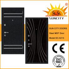 Porte blindée MDF à l'intérieur en acier porte blindée en bois pour l'extérieur (SC-A210)