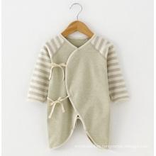 Mameluco rayado del bebé del algodón orgánico de la naturaleza
