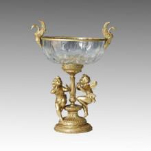 Crystal Vase Statue Swans&Elfins Bronze Sculpture Tpgp-007