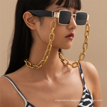 European and American Fashion Jewellery Gold Hip-Hop Punk Cuban Matte Thick Chain Hanging Neck Rope Sunglasses Chain Glasses Chain for Women 2021