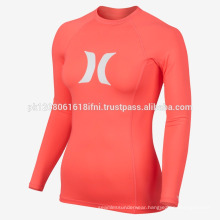 women long sleeve compression wear polyester rash guard