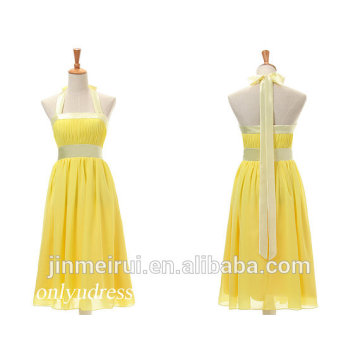 Elegant Halter Wedding Party Dress Knee Length Chiffon Short Gold Yellow Bridesmaid Dress Bride Maid Dresses