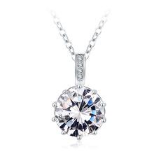 Brass Aniversary Round CZ Necklace for Women Wholesale (CNL0223-B)