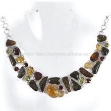 Натуральный Аммолит И Мульти Драгоценных Камней 925 Чистого Серебра Ожерелье