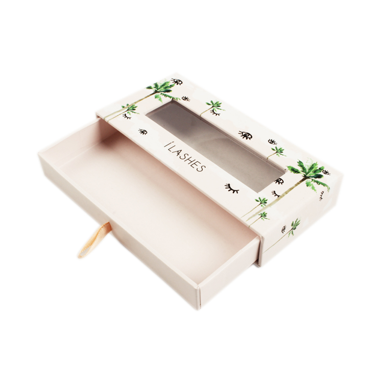 Luxury Drawer Style Paper Eyelash Box With Window