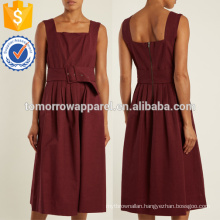 Burgundy Pleated Sleeveless Cotton Dress OEM/ODM Manufacture Wholesale Fashion Women Apparel (TA7110D)