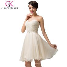 Grace Karin Strapless Sweetheart Organza Grace Karin Beige Cocktail Dress CL6144-1#