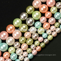 6MM 8MM 10MM Pink Multicolor Shell Pearl Round Gemstone DIY Jewelry Making Beads