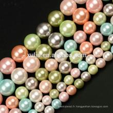 6 MM 8 MM 10 MM rose multicolore coquille perle ronde pierres précieuses bricolage fabrication de bijoux perles