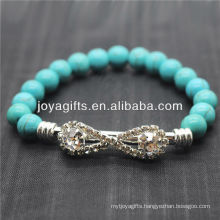 Turquoise 8MM Round Beads Stretch Gemstone Bracelet with Diamante Piece in the middle