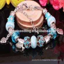 2015 925 стерлингов серебряные ювелирные изделия Шарм Murano стеклянные бусины подходят браслеты для женщин Шарм Браслеты и браслеты