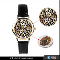 black genuine leather strap leopard watch