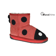 Kid′s Cow Suede Mini Boot Ladybird