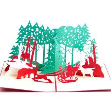 FQ marque boutique papier fait main coupe Noël 3d pop up carte de voeux