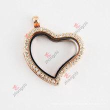 Rose Gold Bent Heart Glass Floating Living Locket Necklace (# 36)