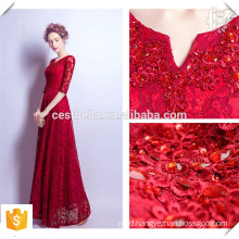 Long Tail Red Wine Formal Lace Evening Dress Elegant Lace Party Dress for Young Ladies