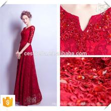 Длинный хвост красное вино формальные кружева вечернее платье элегантный кружева вечернее платье для молодой дамы