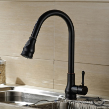 Hot and cold water flexible black pull out sink mixer pull down polished kitchen faucet