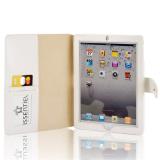 Display Case for iPad Simple Design White Leather Portfolio