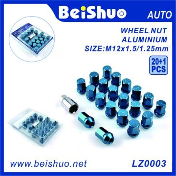 20 + 1 PCS Hex Ensemble d'écrous de roue en aluminium galvanisé